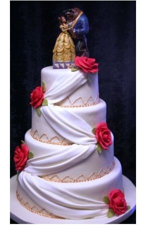 Love this cake..... What a gorgeous topper ..... Belle and Beast ...