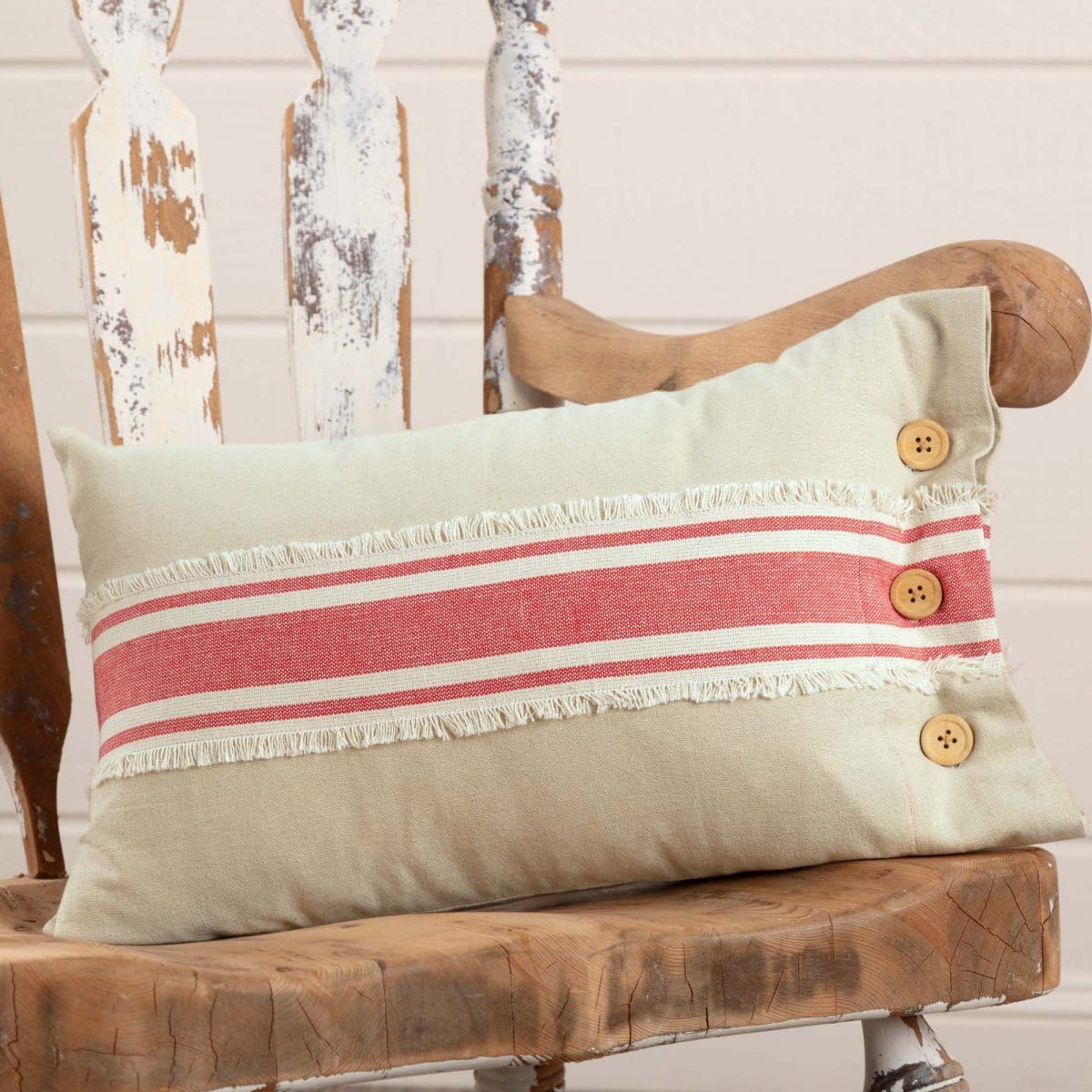 Farmhouse Red Grain Sack Stripe 12″x 20″ Pillow Cover