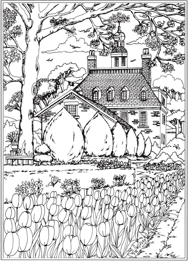 Welcome to Dover Publications; Creative Haven Spring Scenes Coloring ...