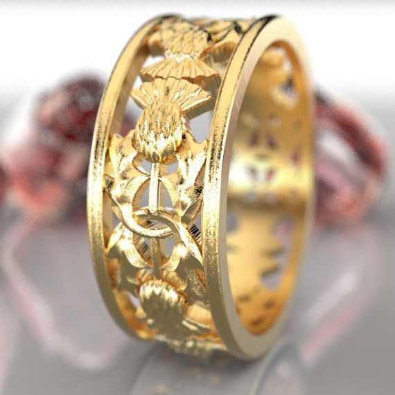 Gold Thistle Ring 10k 14k Or 18k Gold Scottish Ring Unique Etsy Scottish Jewellery Jewelry Thistle Ring