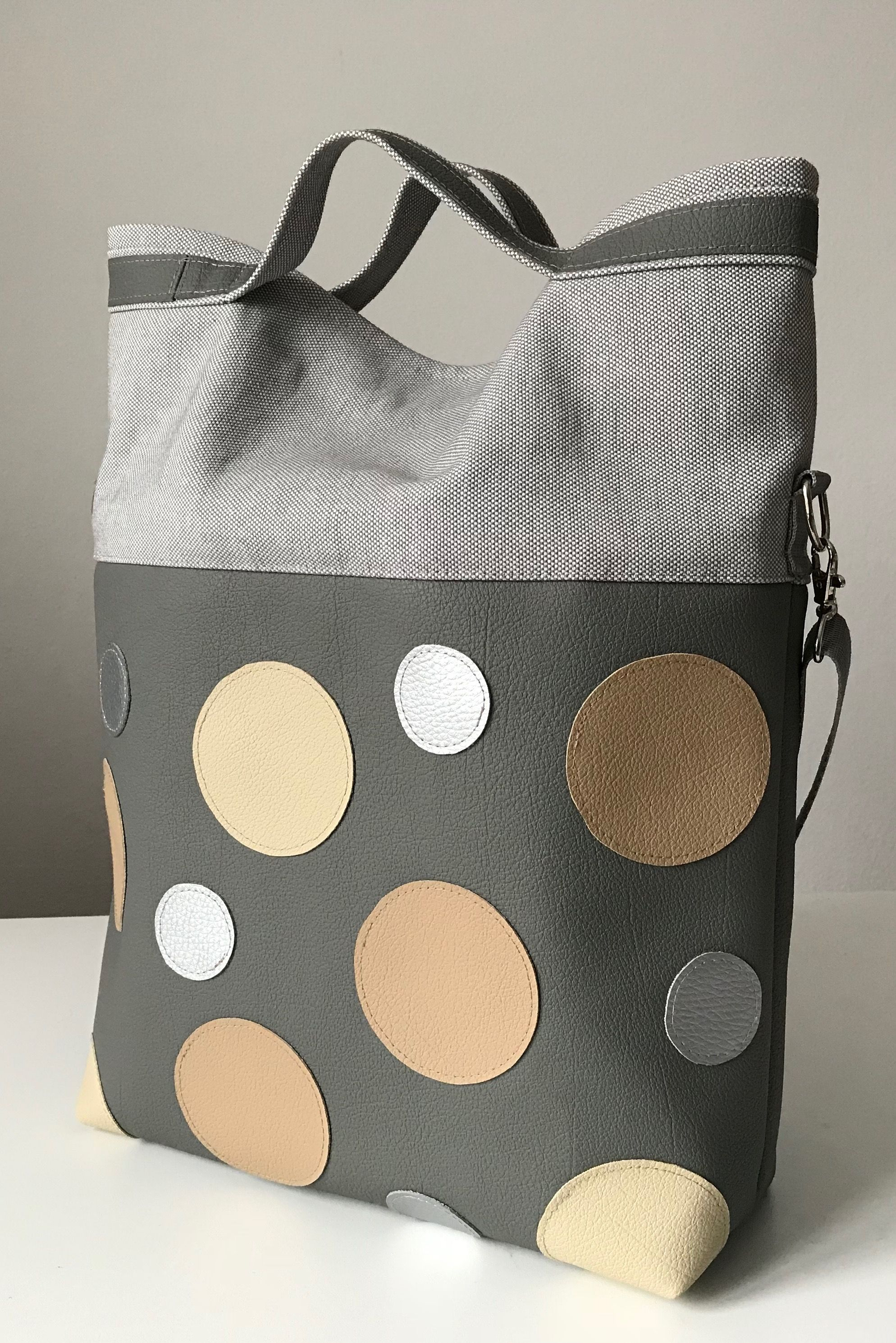 Bolsas De Tela Decoradas Shoulderbag Messengerbag Bag Silver Grey Beige Polka