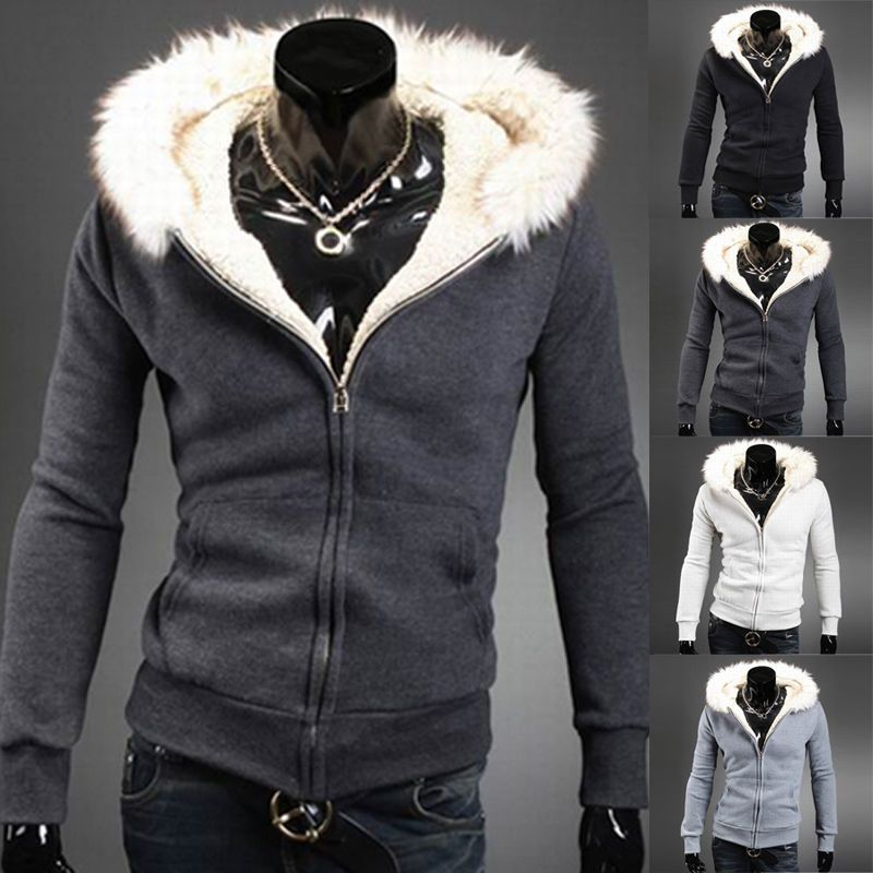 842e23abafd Stylish Mens Casual Faux Fur Hoodie Hood Coat Jacket Sweatshirt Outwear  Overcoat #PaulJones #BasicCoat