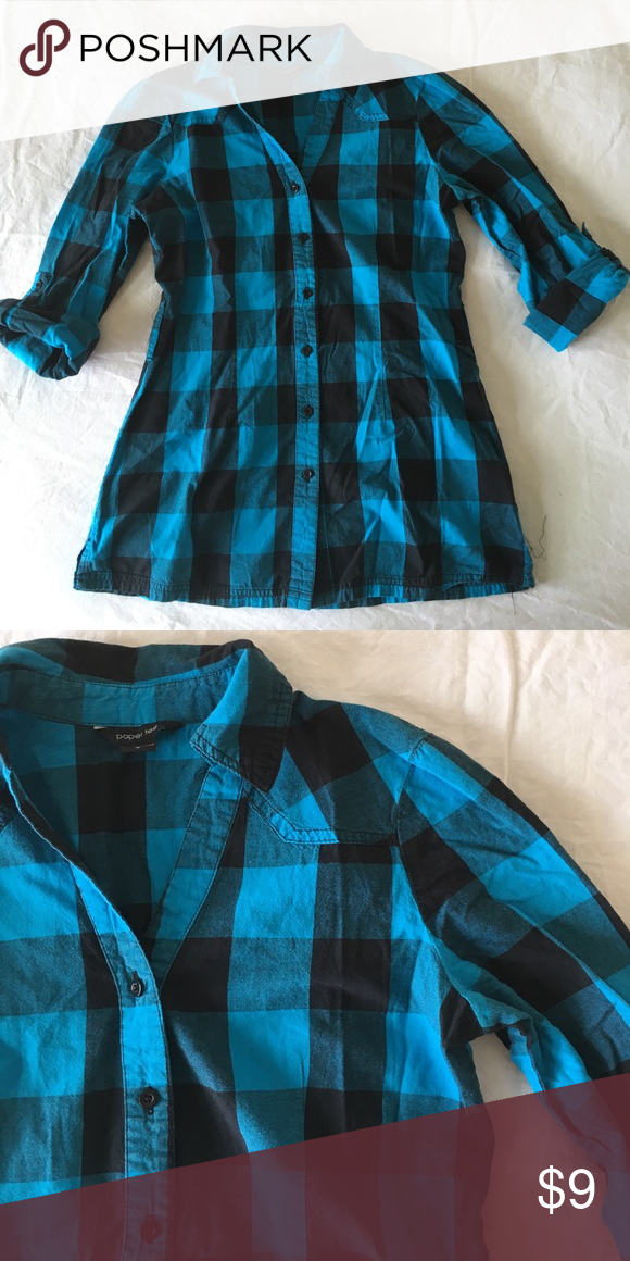 Button up shirt Blue and back button up shirt. No flaws. 20% off bundles and excepting all reasonable offers! paper tee Tops Button Down Shirts