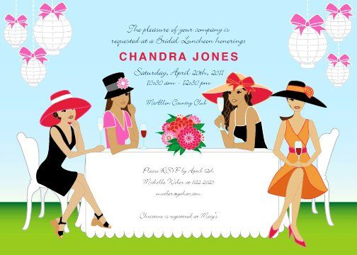Invitation Cards For Ladies Party. African American Ladies Champagne Brunch Garden Party Invitation