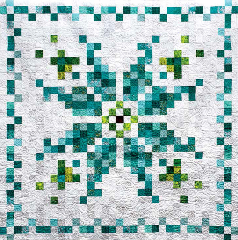 FREE Pattern Pixelflake is part of Pixel quilting, Snowman quilt, Quilting designs, Snowflake quilt, Quilts, Watercolor quilt - Pixelflake is a strippieced, pixelstyle lap quilt designed by Stacey Day  Its easy construction and strip piecing short cuts let you whip up this quilt in not time! Perfect to get you in the mood for spring! Skill Level Easy Finished Quilt Size 66″ x 66″ Fabric Requirements Assorted white blenders   4 yd Assorted teal …