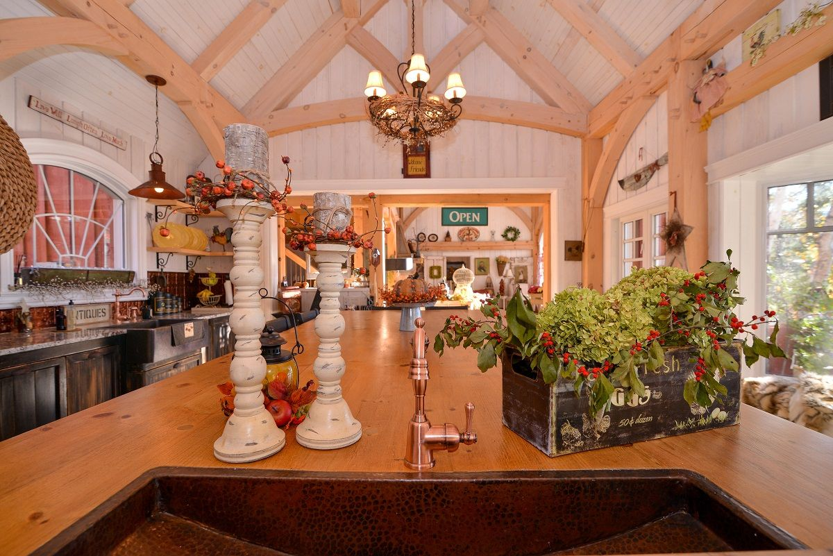 Beautiful Discovery Dream Homes Timber Frame Kitchen in our East Hampton Home #Kitchen #EastHampton #TimberFrame #Custom #DiscoveryDreamHomes