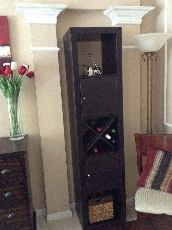 More fun Bar/Wine Storage. IKEA Hackers & Easy X-shelf for EXPEDIT bar | Pinterest | Ikea hackers Wine ...