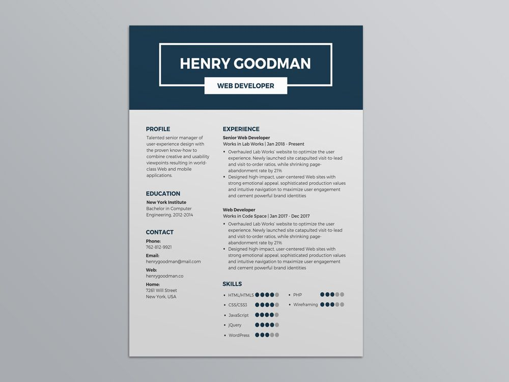 Free Dark Blue Resume Template With Minimalist Syle Design For Your Next Job Opportunity Using Resume Template Resume Template Free Best Free Resume Templates