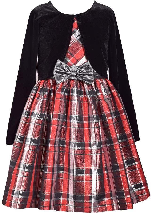 93b551ba53c4c Bonnie Jean Girls 7-16   Plus Size Plaid Sleeveless Dress   Cardigan ...