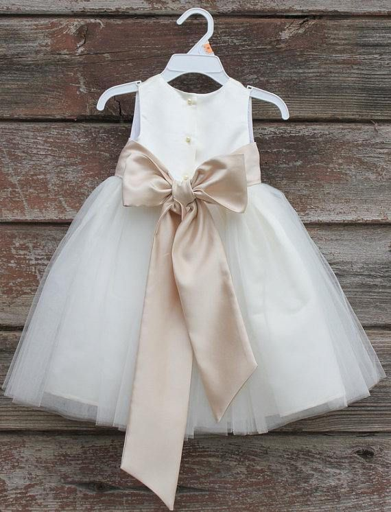 c48df7623 White Flower Girl dress bow sash pageant petals wedding bridal ...