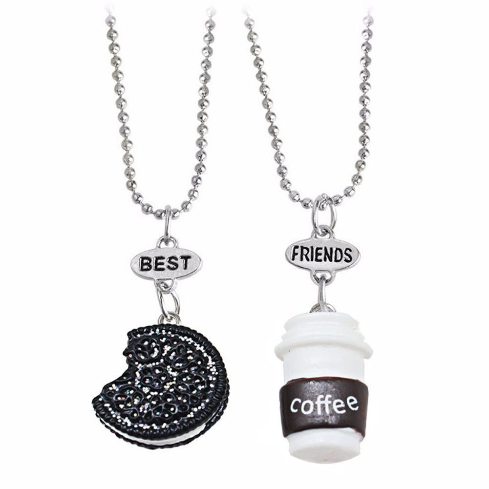 Pcsset kids necklace coffee cup and oreo cookies pendant best