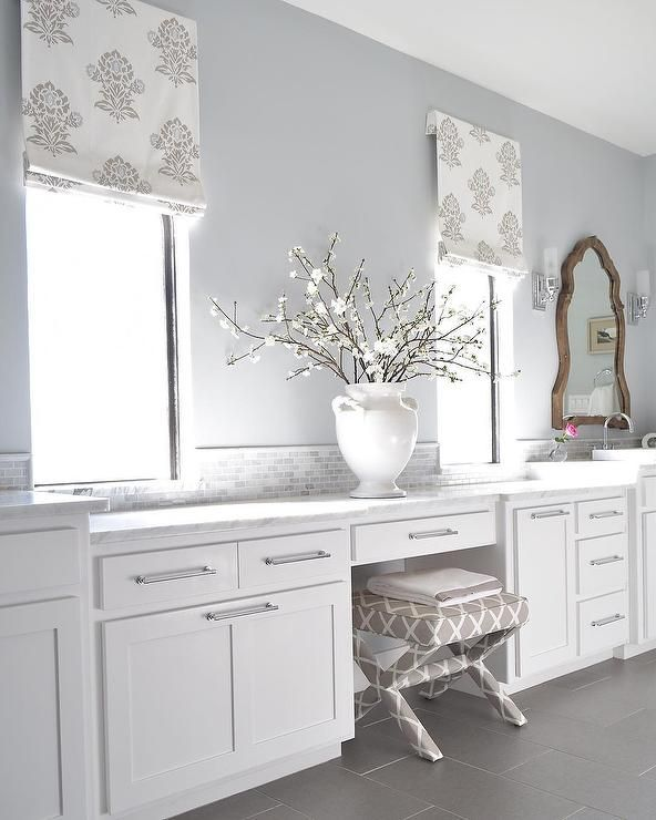 Benjamin Moore Bathroom Colors: Beautiful Bathroom Features White Cabinets Painted White