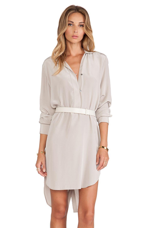 48c3b78a44e0 Halston Heritage Long Sleeve Shirt Dress with Belt in Stone Grey | REVOLVE