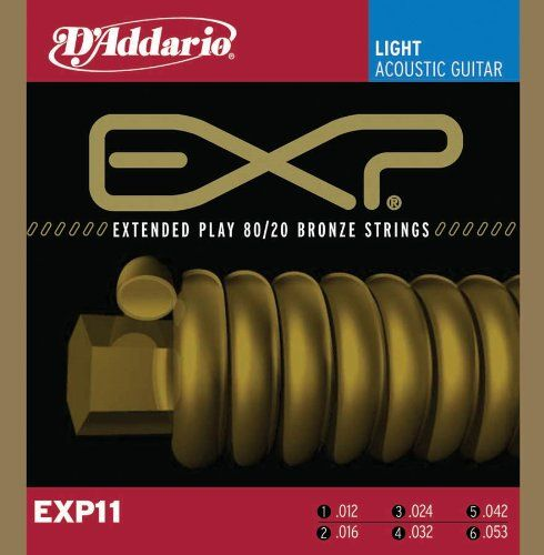 D'Addario EXP11x3 (3 sets) Acous Guit Strings, EXP Coated 80/20 Brnz, Light (.012-.053). - http://www.rekomande.com/daddario-exp11x3-3-sets-acous-guit-strings-exp-coated-8020-brnz-light-012-053/