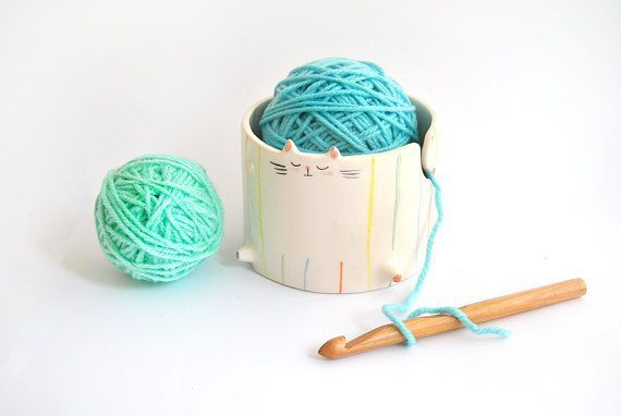 Ceramic Chubby Cat Yarn Bowl/ Knitting Bowl/ Crochet Bowl, Decorated with Multicolor Stripes. Ready To Ship #crochetbowl