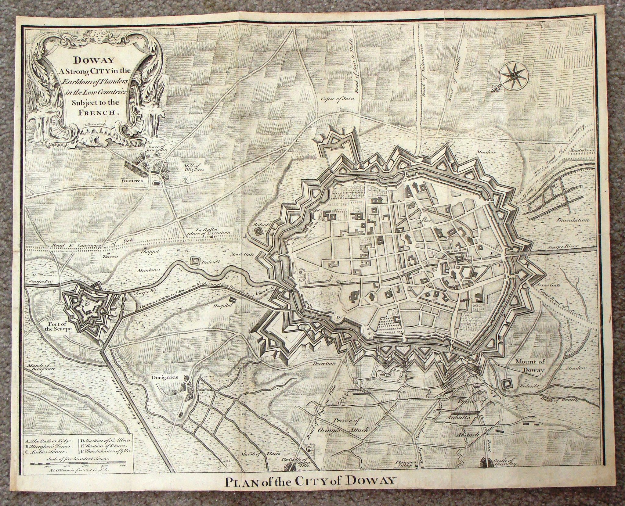 Antique Map Basireu0027s PLAN OF THE