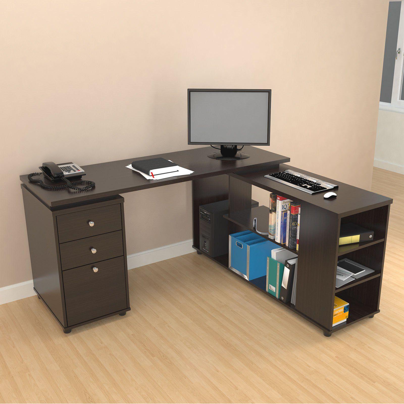 Inval L Shaped Computer Work Station Espresso Wengue Computer Desk With Shelves Desk Shelves Desk