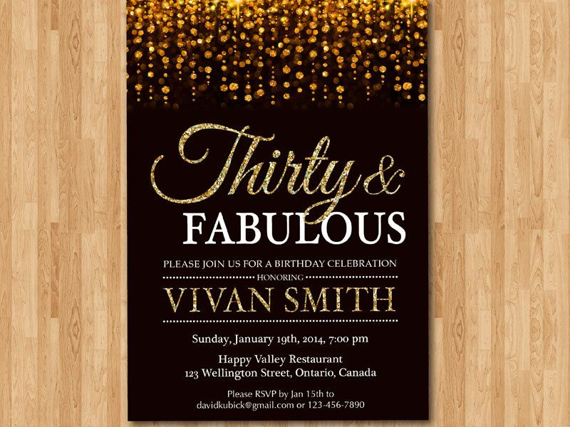 30th birthday invitation for women thirty and fabulous gold