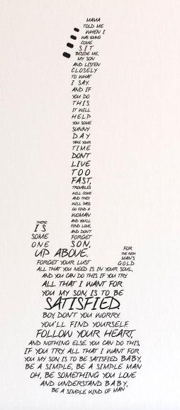 Simple Man Lyrics in Guitar - Wall Decal Custom Vinyl Art Stickers ...