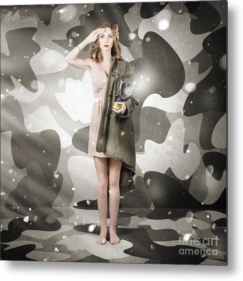 Army Metal Print featuring the photograph Sexy Army Girl Saluting On Snow Camo Background by Ryan Jorgensen