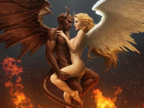 Fantasy art angel fucking devil