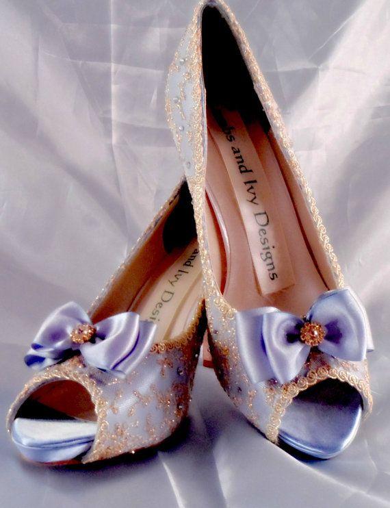 Gold Lace Bride's Peetoe Platform High Heels by AJuneBride on Etsy