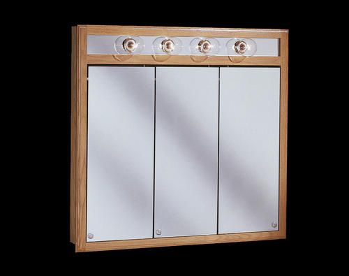 Pace 36 Oak Lighted Tri View Medicine Cabinet 210 Menards