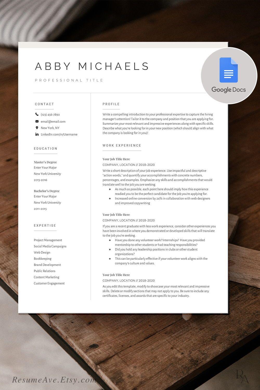 Modern google docs resume / cv template nurse resume / cv