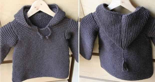Paletot à Capuche | Modèle tricot facile, Modele tricot ...