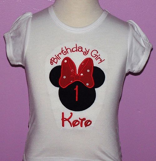 Girls Number  Minnie Mouse Face With Red Polka Dot Big Bow Shirt Or Onesie