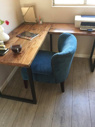 L Shaped Desk Reclaimed Wood With Metal Base Kitchen Dining