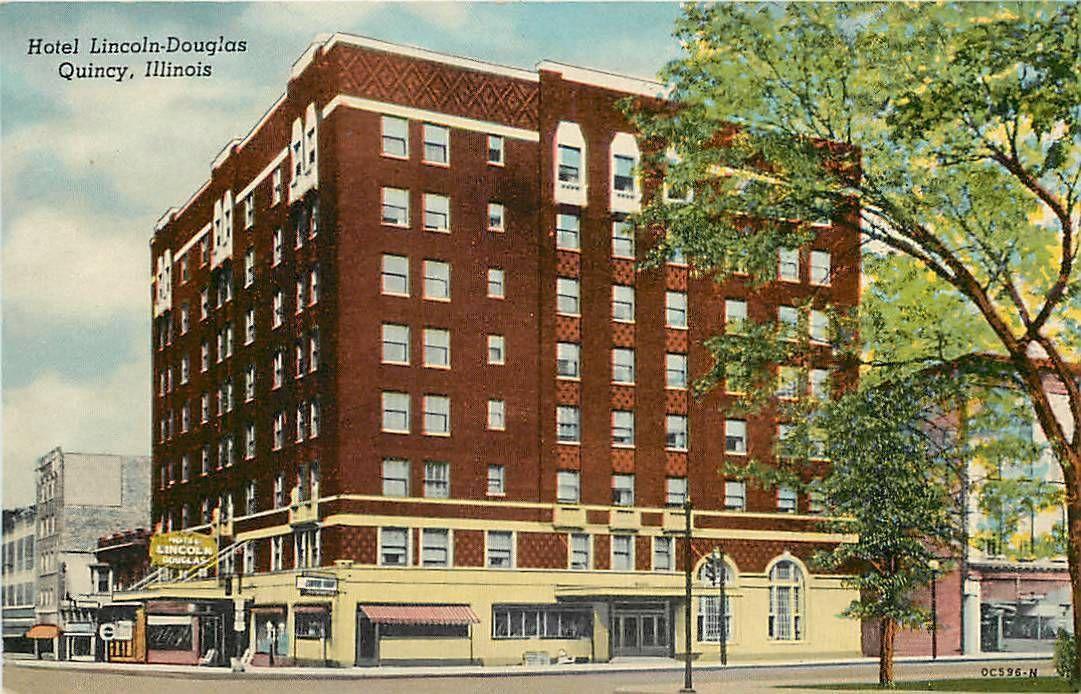 Quincy Illinois Il Hotel Lincoln Douglas Postcard