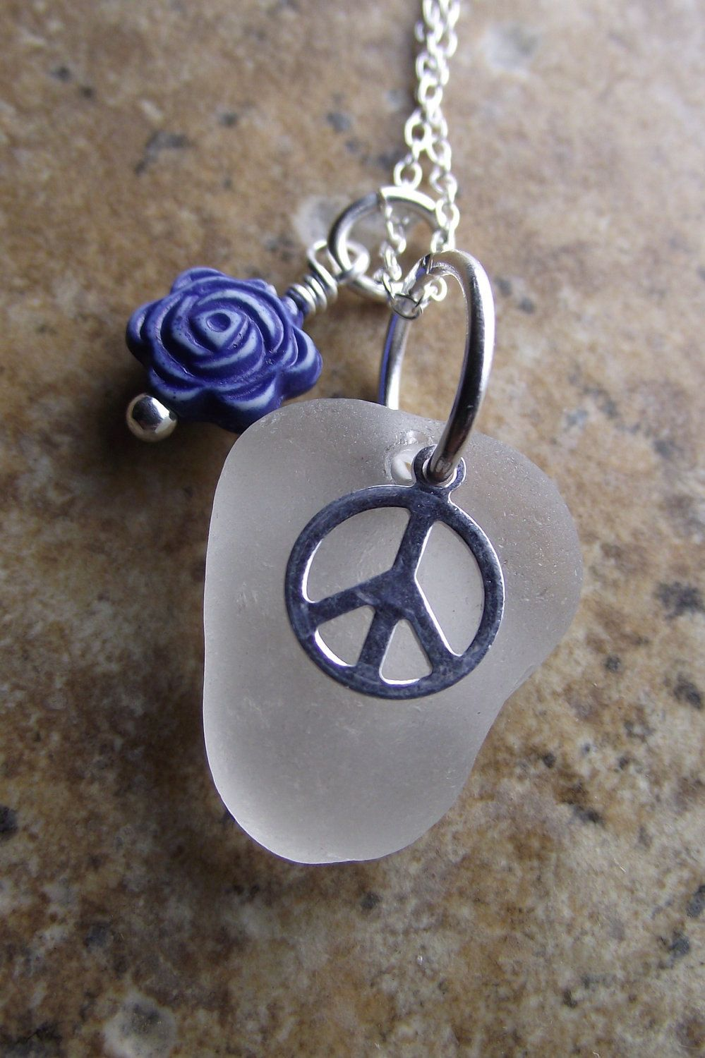 Sea Glass Jewelry - Increase The PEACE - Genuine Sea Glass Cluster Necklace by SeaFindDesigns on Etsy.  via Etsy.