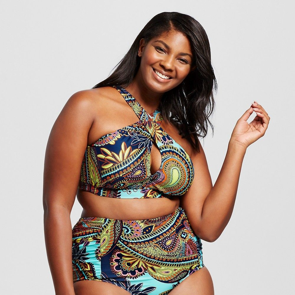 897e033a0fa Women s Plus Size Bohemian Summer High Neck Bikini Top Navy ...