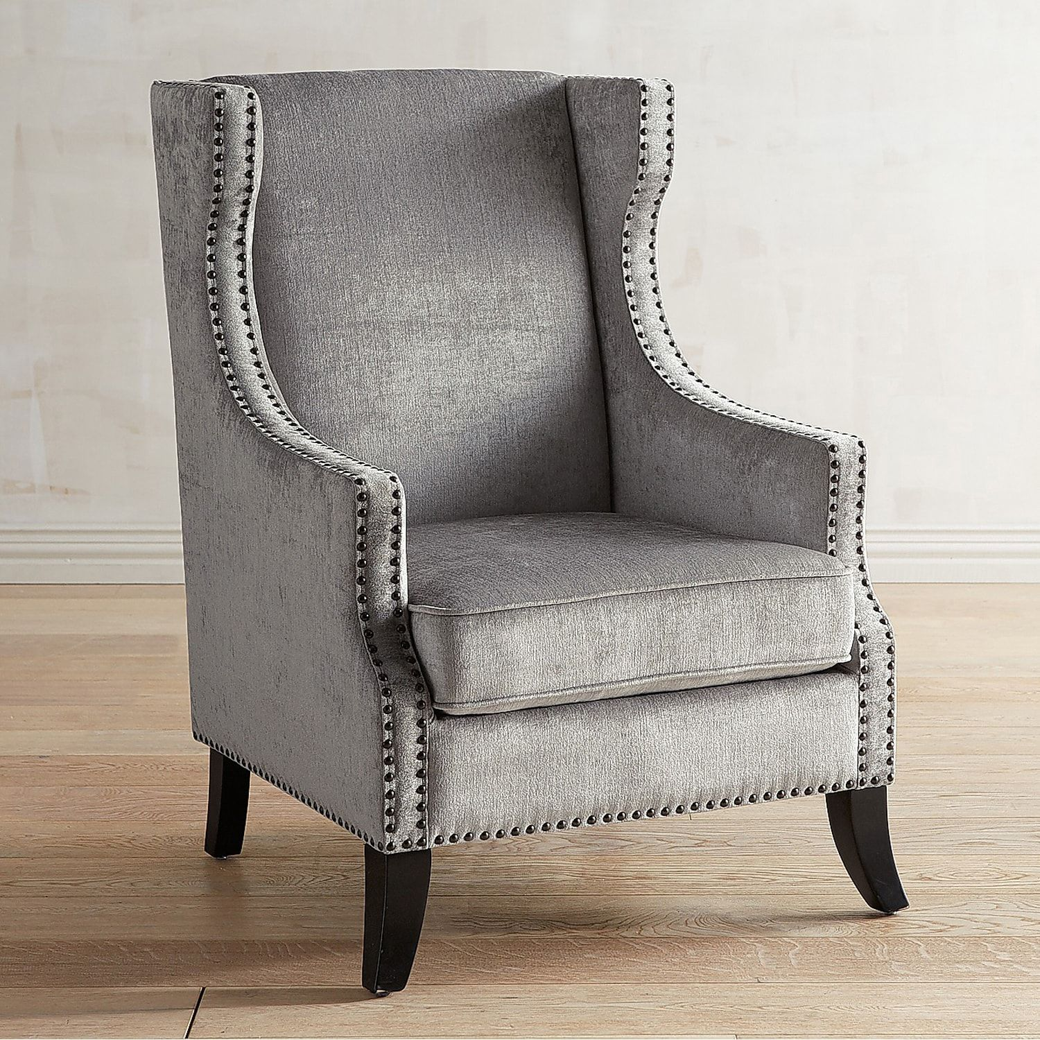 Best Alec Silver Velvet Chair With Nailhead Trim Wing Chair 400 x 300