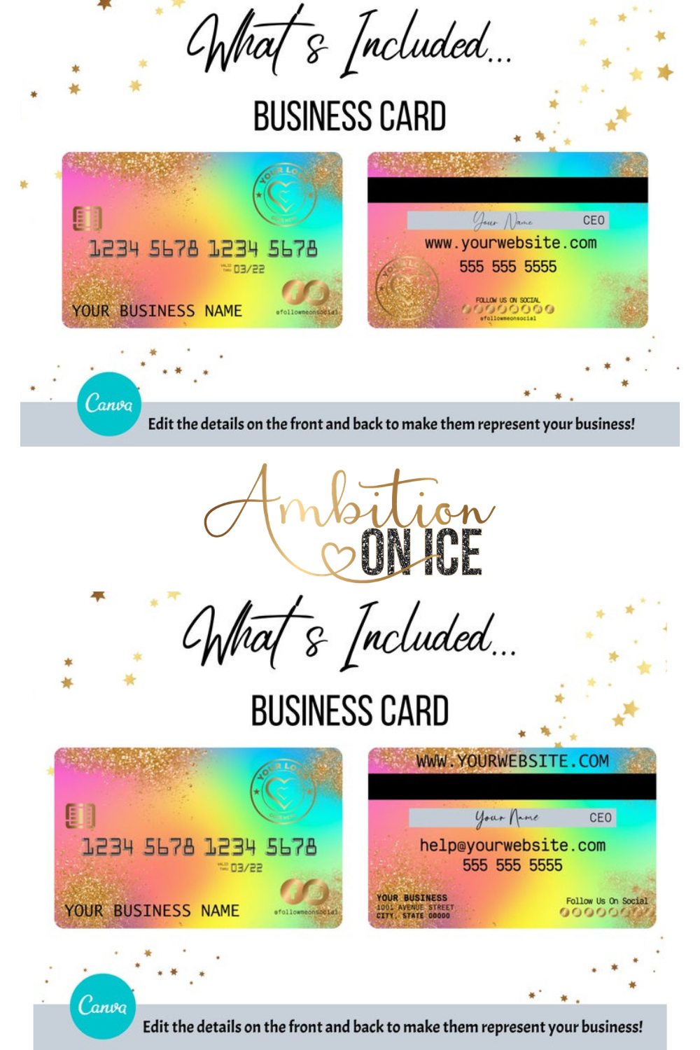 Diy Rainbow Gold Glitter Credit Card Business Cards Canva Etsy Business Card Design Card Design Appointment Cards