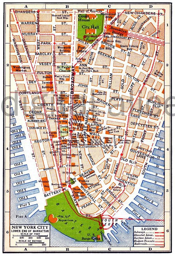 vintage nyc map old map 1915 lower manhattan new by digitalalice