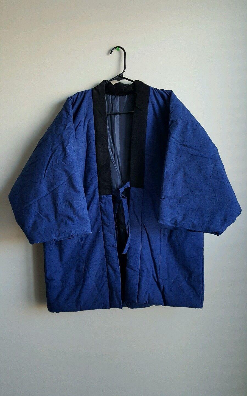 525d3470b6bc Vintage Japanese Hanten Kimono Coat Jacket Sanjuro Noragi Blue ...