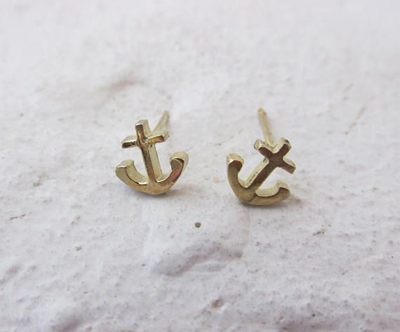 Gold Earrings Anchor Earrings Gold Anchor 14 Karat Yellow Sheba