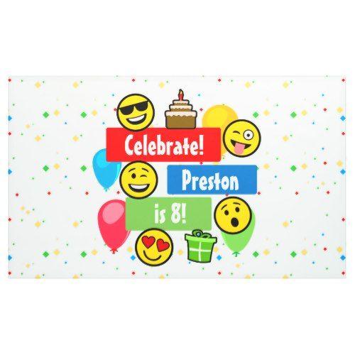 Colorful Emoji Birthday Party Kids Or Boys Custom Banner