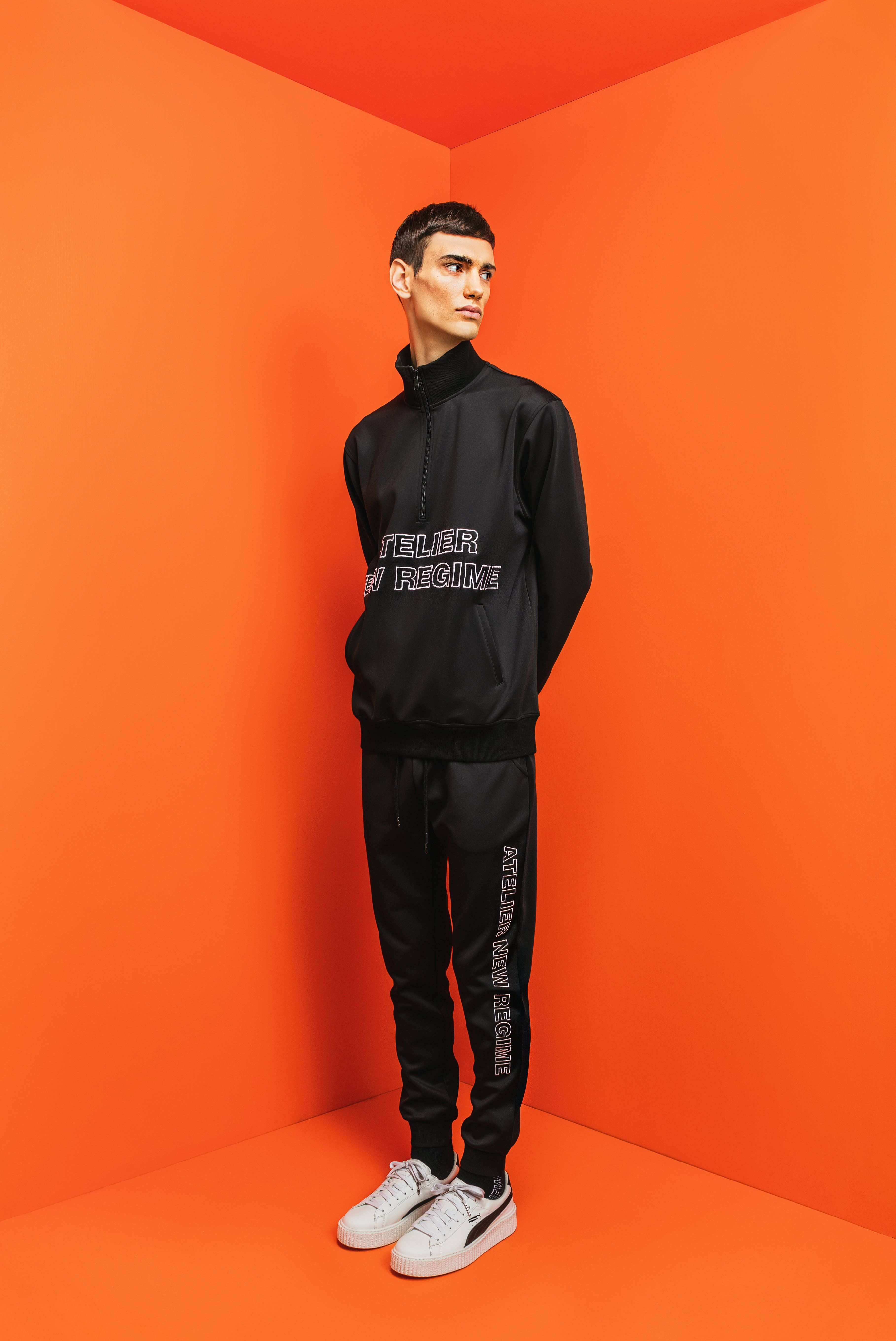 de584d8deb Atelier New Regime Pre-Fall '17 Lookbook | Logo Track Jacket in black  paired with matching black Logo Track Pants.