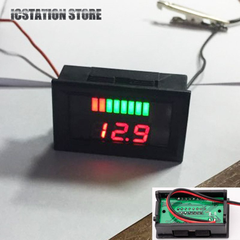 12V ACID Lead Battery Indicator Charge Capacity Voltage Lead-acid Battery Red LED Dual Digital Display #Affiliate