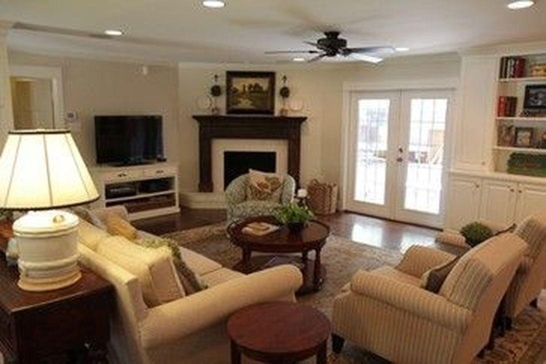 comfy living room décor ideas with a corner fireplace 35