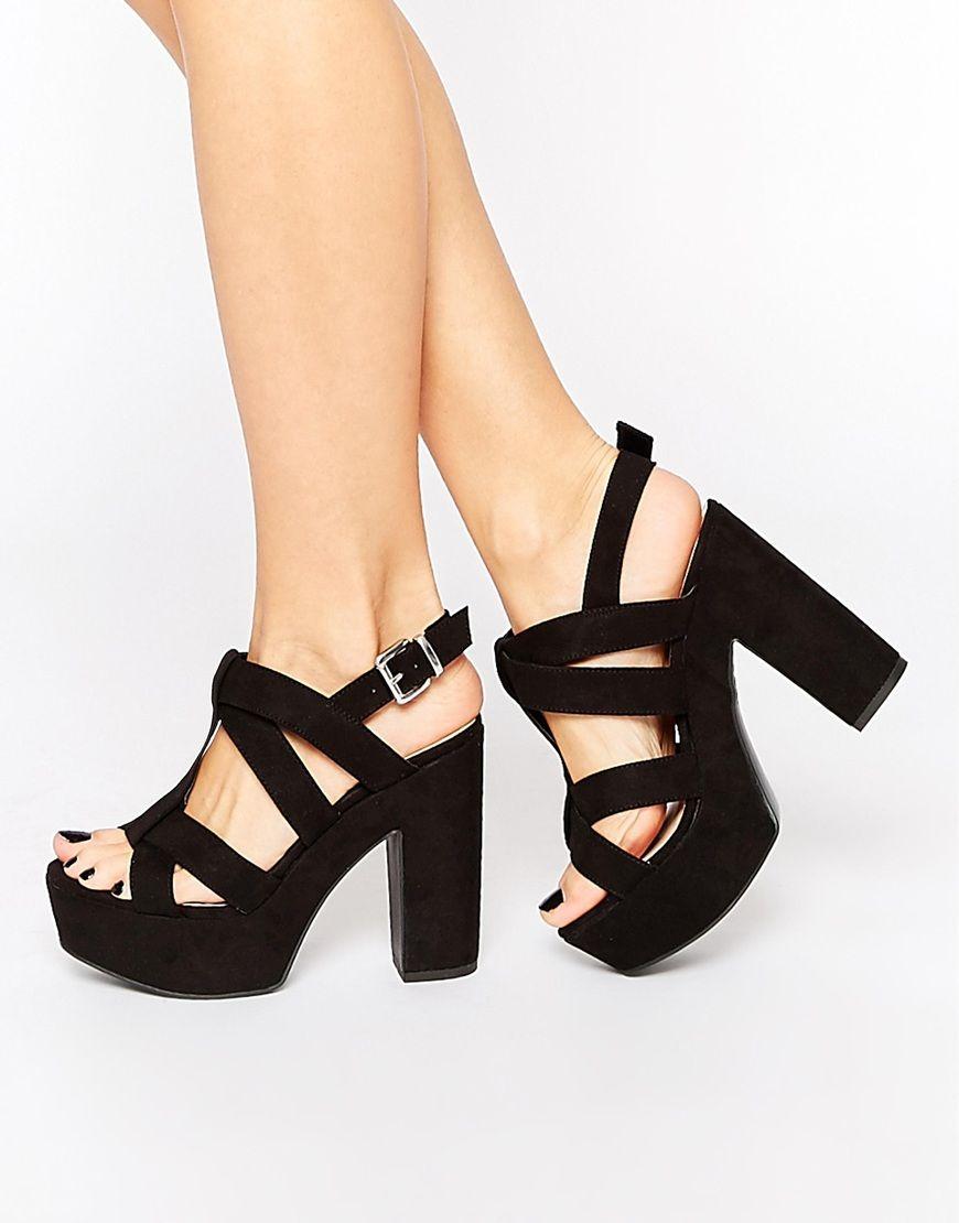 19c087ac New Look Wide Fit Platform Heeled Sandals Sandalias Tacon Ancho, Zapatos De  Tacon Grueso,