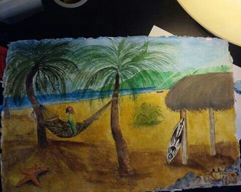 """""""Adrift In The Tropics"""" Watercolor on recycled paper, 18""""x12"""""""