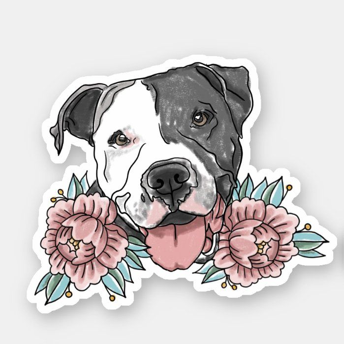Represent your love of the American Pit Bull Terrier with this traditional tattoo style sticker of the famous