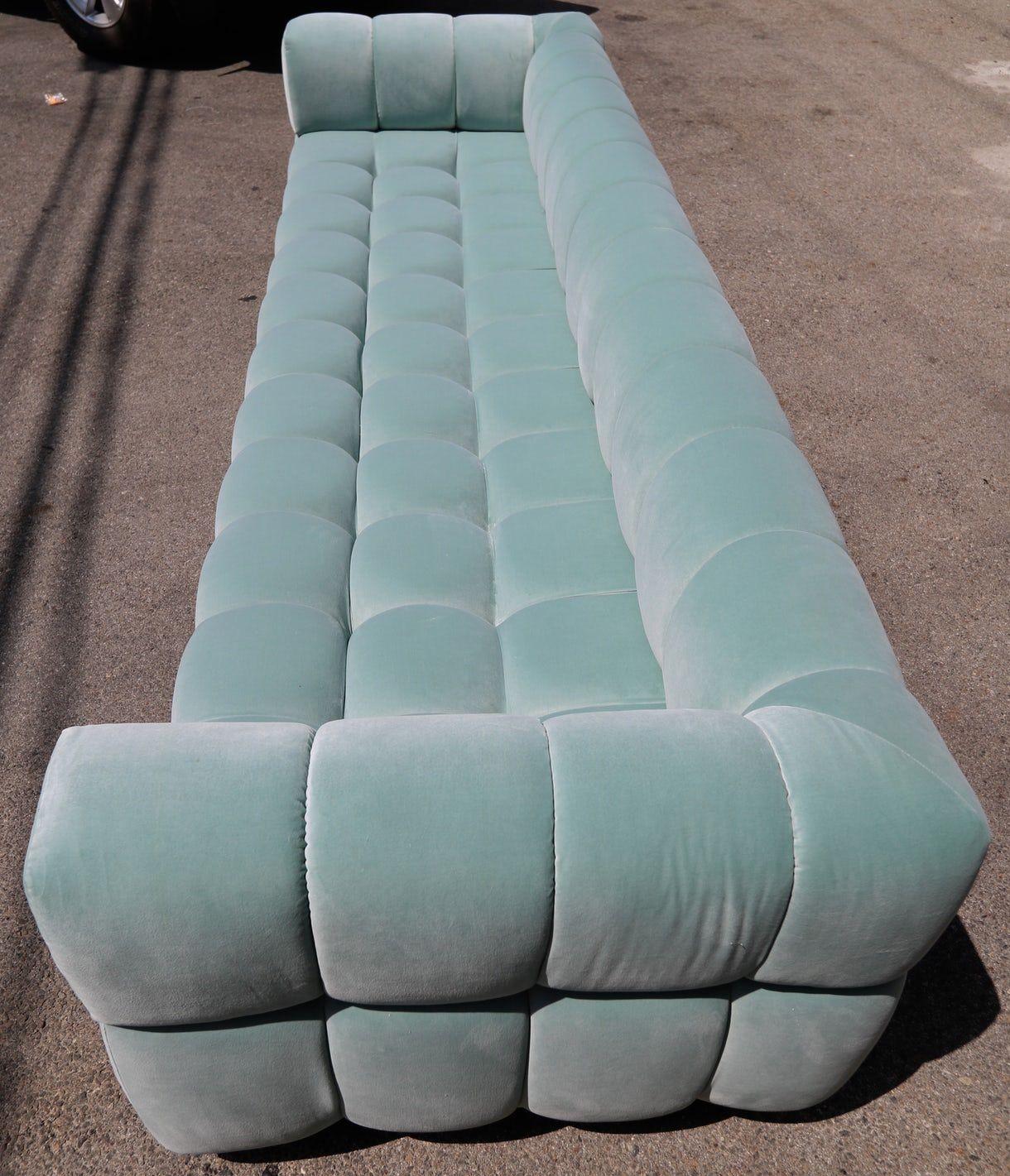 Superb Custom Tufted Aqua Blue Velvet Sofa With Brass Bas Mid Cjindustries Chair Design For Home Cjindustriesco