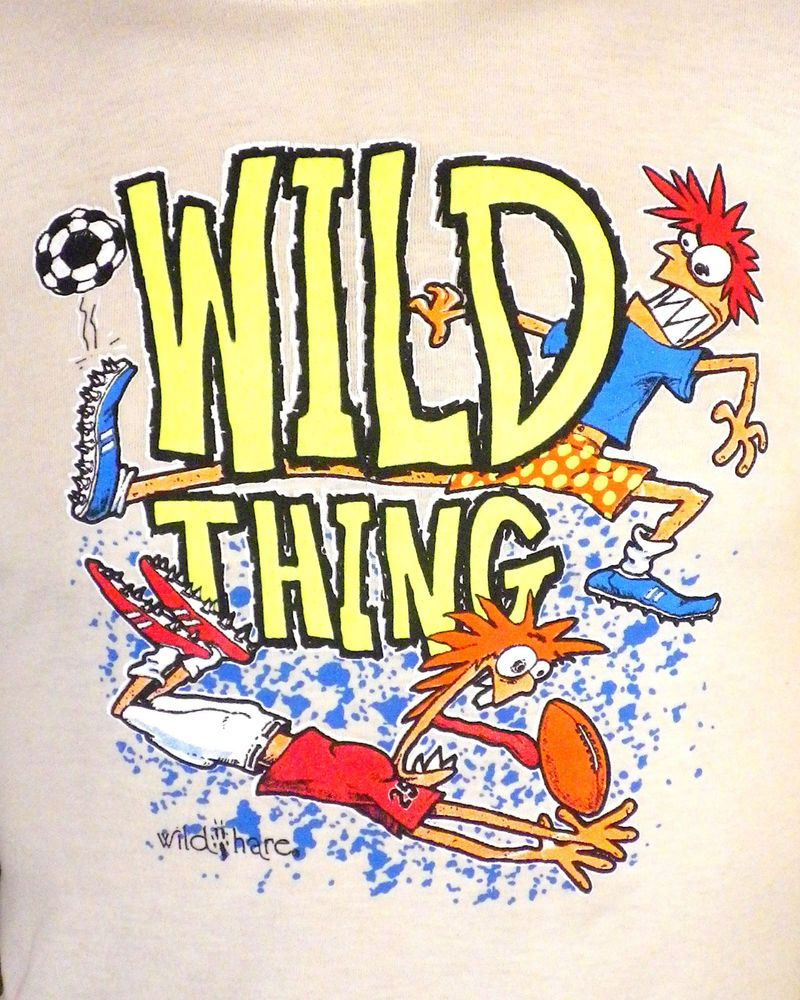 vtg 80s textured / Neon Raised Print Wild Thing T-Shirt soccer football indie S