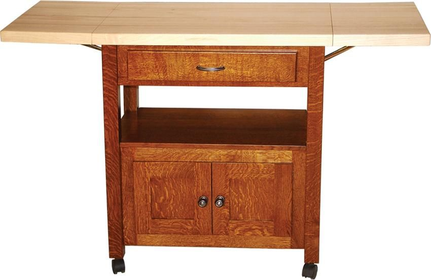 Amish Mission Serving Cart with Drop Leaves
