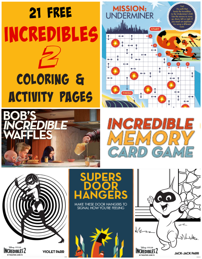 This Set Of 21 Free Disney Pixar Incredibles 2 Coloring Pages And Activity Pages Includes 5 Coloring Pages Door Han Activities Color Activities Coloring Pages